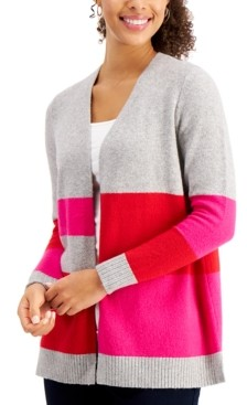 Charter Club Colorblocked Knit Cardigan, Created for Macy's