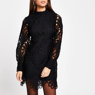 River Island Womens Black lace puff sleeve shift dress