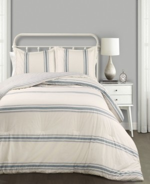 Lush Decor Farmhouse Stripe Reversible 3-Piece King Comforter Set Bedding