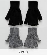 New Look New Look 2 Pack Fingerless Gloves