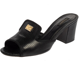 Dolce & Gabbana Black Leather Iguana Slide Sandals Size 41