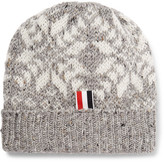 Thom Browne Fair Isle Wool And Mohair-blend Beanie - Gray