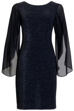 Connected Plus Size Glitter Chiffon-Sleeve Sheath Dress