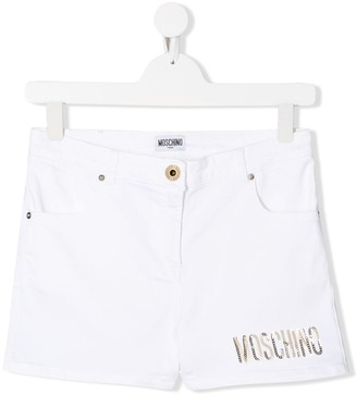 MOSCHINO BAMBINO TEEN sequin-logo shorts
