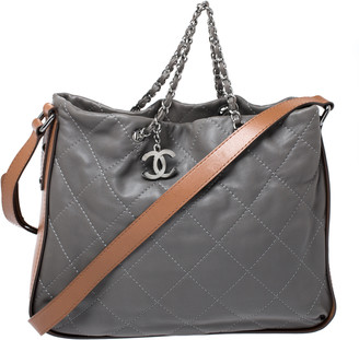 Chanel Grey/Brown Quilted Leather Tote