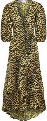 Ganni Bijou Leopard-print Cotton-poplin Wrap Midi Dress