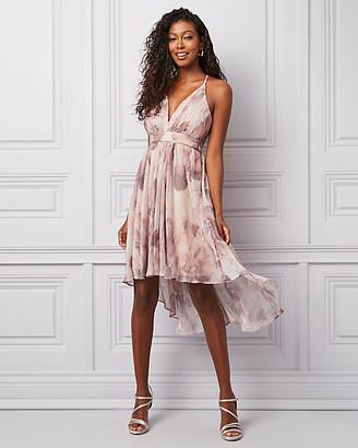 Le Château Abstract Print Metallic Knit Deep-V Dress