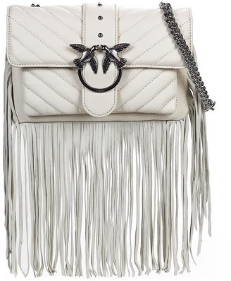 Pinko Love Mini Soft Fringes White Crossbody Bag