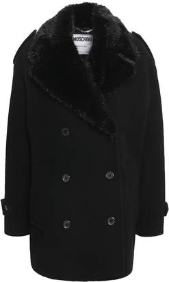 Moschino Faux Fur-trimmed Wool And Cashmere-blend Coat