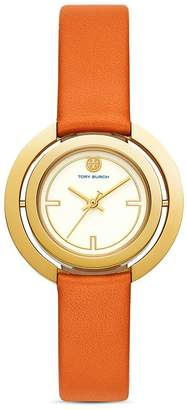 Tory Burch The Grier Orange Leather Strap Watch, 26mm