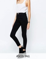 ASOS Tall ASOS TALL Ridley High Waist Skinny Jeans in Clean Black