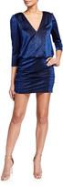 Aidan Mattox Leopard Metallic Knit Blouson-Bodice Mini Dress