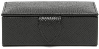 Smythson Panama Mini Leather Cufflink Box - Black