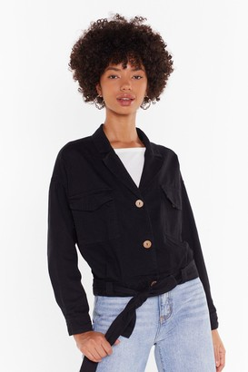 Nasty Gal Womens Belt Years of Our Lives Button-Down Denim Jacket - black - S