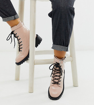 Asos Design DESIGN Wide Fit Anya hardware lace up boots in pink croc