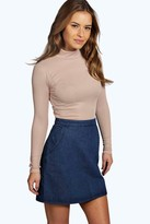 Boohoo Petite Tanya Long Sleeve Rib Turtle Neck Top