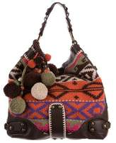 Isabella Fiore Leather-Trimmed Embroidered Hobo