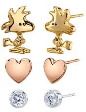 Peanuts Unwritten Three Pair Silver Plated Woodstock Earring Set with Heart and Bezel Cubic Zirconia Stud