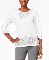 Alfred Dunner Northern Lights Embroidered Beaded Top
