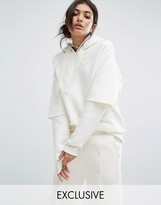 Bones Oversized Hoodie With Double Layer Sleeve And Lace Patches