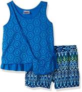 Beautees Little Girls' 2 Piece Sleeveless Two Tier Crochet Top and Printed Short