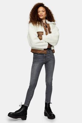 Topshop Womens Petite Grey Jamie Skinny Jeans - Grey