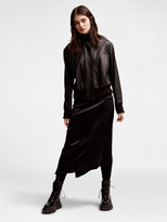 DKNY Pure Ribbed Leather Bomber