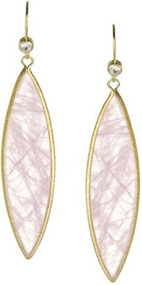 Rivka Friedman Elongated Rose Quartz Marquis Drop Earrings
