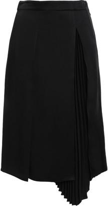 Proenza Schouler Asymmetric Pleated Satin-crepe Midi Skirt