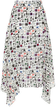 Paul Smith Asymmetric Printed Silk Crepe De Chine Midi Skirt
