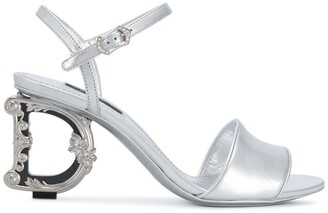 Dolce & Gabbana Monogram-Heel Leather Sandals