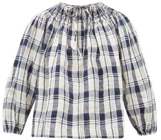 Innika Choo Hope Filhorts Smocked Gingham Blouse - Womens - Navy Multi