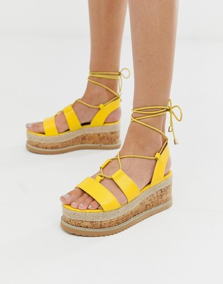 Truffle Collection lace up espadrille flatorm sandals-Yellow