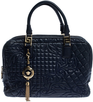 Gianni Versace Versace Blue Leather Demetra Vanitas Top Handle Bag