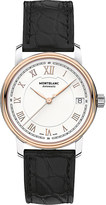 Montblanc 114336 Traditionred gold-plated stainless steel and leather watch