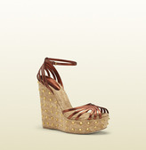 Gucci Cecyl Copper Leather Studded Wedge