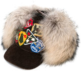 DSQUARED2 patches baseball cap - women - Cotton/Viscose/Racoon Fur - S