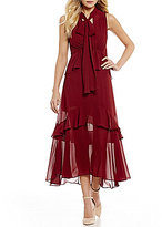 Gianni Bini Miranda Tiered Ruffle Tie Neck Dress