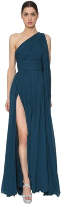Elie Saab One Shoulder Crepe Georgette Dress