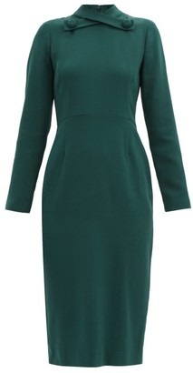 Goat Katty Crossover-collar Wool-crepe Midi Dress - Dark Green