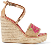 M Missoni Metallic leather and raffia espadrille sandals