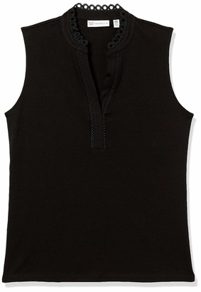 Rafaella Women's Solid Sleeveless Top with Lace Trim