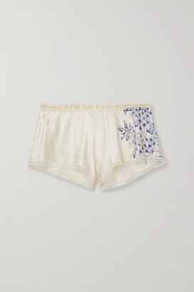 Carine Gilson Lace-trimmed Printed Silk-satin Pajama Shorts - Cream