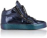 Giuseppe Zanotti Men's Mirrored Double-Zip Sneakers-BLUE