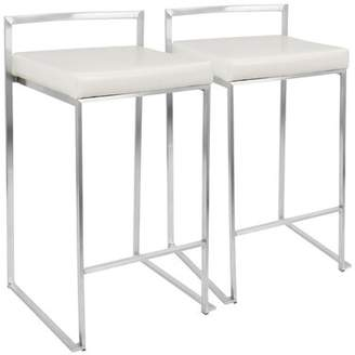 """Wade Logan Gary Bar & Counter Stool Upholstery: White Faux Leather, Frame Color: White, Seat Height: Counter Stool (27"""" Seat Height)"""