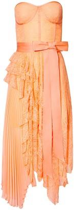 Alice + Olivia Bree Ruffle Pleated Midi Dress
