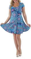 24/7 Comfort Apparel Abstract Mandala Fit & Flare Dress