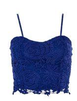 Quiz Royal Blue Lace Zip Back Crop Top