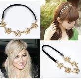 HYL New lady 1x gold Olive leaf headband head piece chain leaves golden elastic band