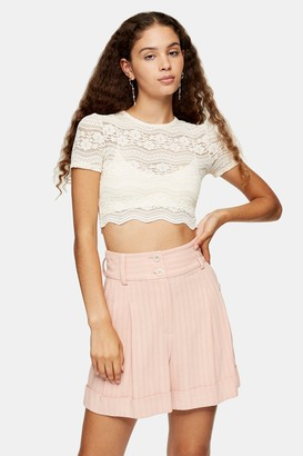 Topshop Womens Cream Scallop Lace Crop Top - Cream
